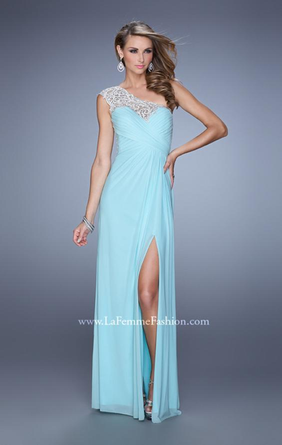 Picture of: Long One Shoulder Jersey Prom Dress with Embroidery in Mint, Style: 21219, Detail Picture 4