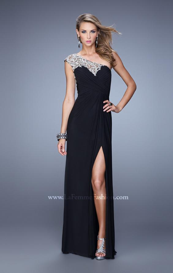 Picture of: Long One Shoulder Jersey Prom Dress with Embroidery in Black, Style: 21219, Detail Picture 5