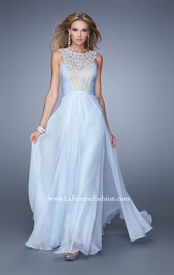 Picture of: High Scoop Neckline Prom Gown with Rhinestone Detail in Powder Blue, Style: 21222, Main Picture
