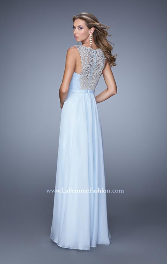 Picture of: High Scoop Neckline Prom Gown with Rhinestone Detail in Powder Blue, Style: 21222, Back Picture