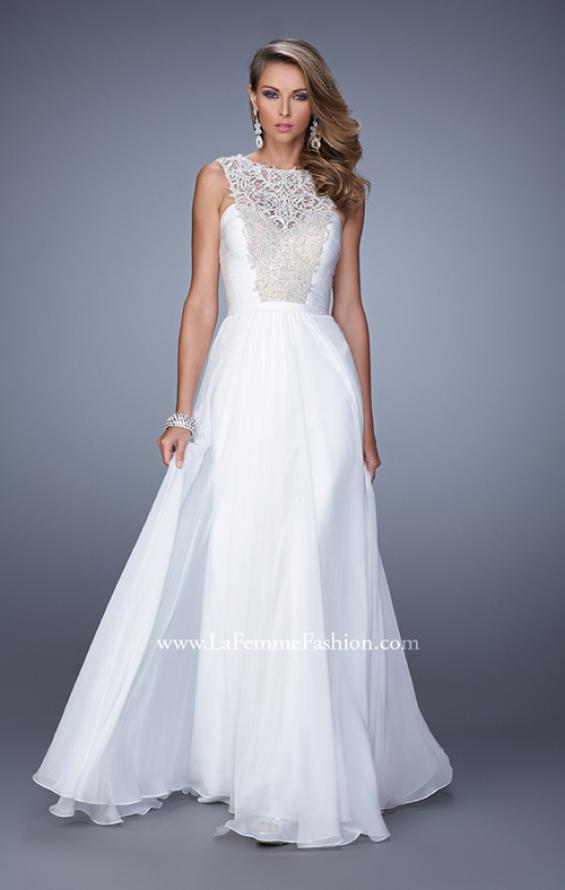 Picture of: High Scoop Neckline Prom Gown with Rhinestone Detail in White, Style: 21222, Detail Picture 2