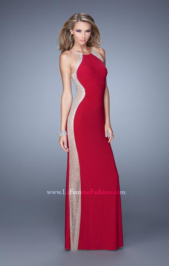 Picture of: Accented Rhinestone Prom Dress with Scoop Neck in Red, Style: 21224, Main Picture