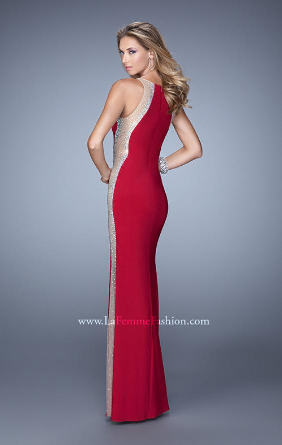 Picture of: Accented Rhinestone Prom Dress with Scoop Neck in Red, Style: 21224, Back Picture