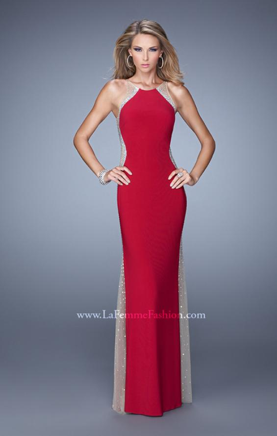 Picture of: Accented Rhinestone Prom Dress with Scoop Neck in Red, Style: 21224, Detail Picture 1