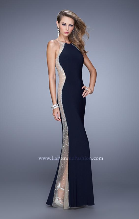 Picture of: Accented Rhinestone Prom Dress with Scoop Neck in Black, Style: 21224, Detail Picture 2