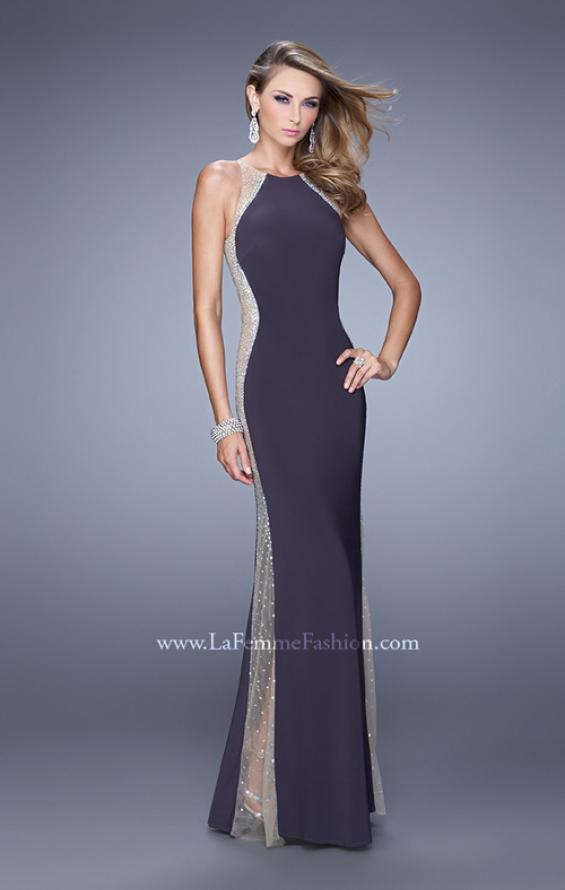 Picture of: Accented Rhinestone Prom Dress with Scoop Neck in Black, Style: 21224, Detail Picture 3