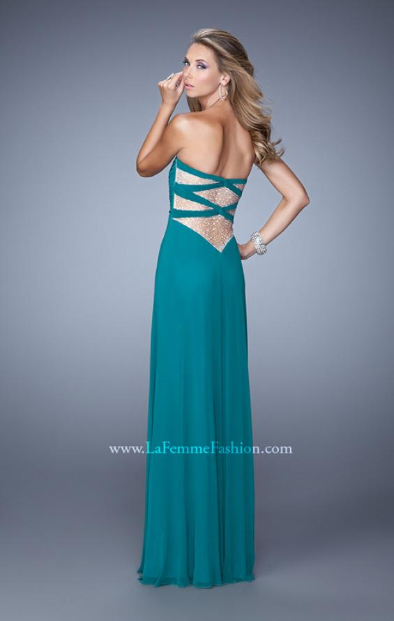 Picture of: Long Jersey Prom Dress with Beaded Net Detailing in Green, Style: 21232, Main Picture