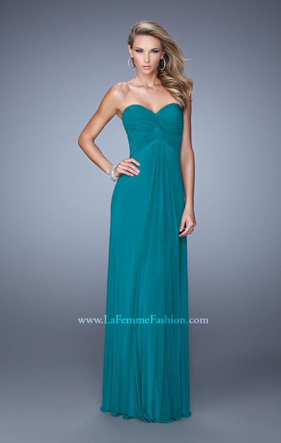 Picture of: Long Jersey Prom Dress with Beaded Net Detailing in Green, Style: 21232, Back Picture