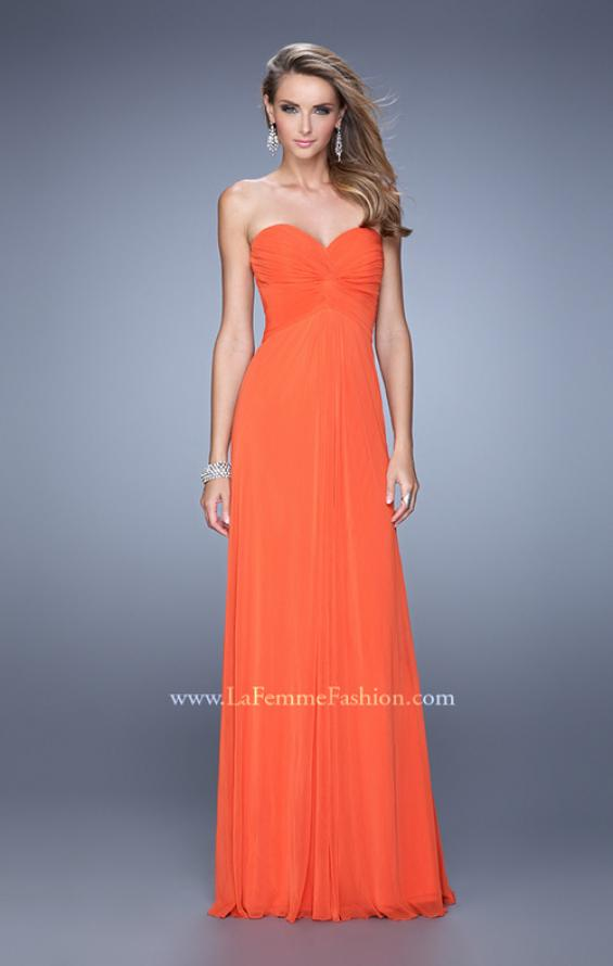 Picture of: Long Jersey Prom Dress with Beaded Net Detailing in Orange, Style: 21232, Detail Picture 1