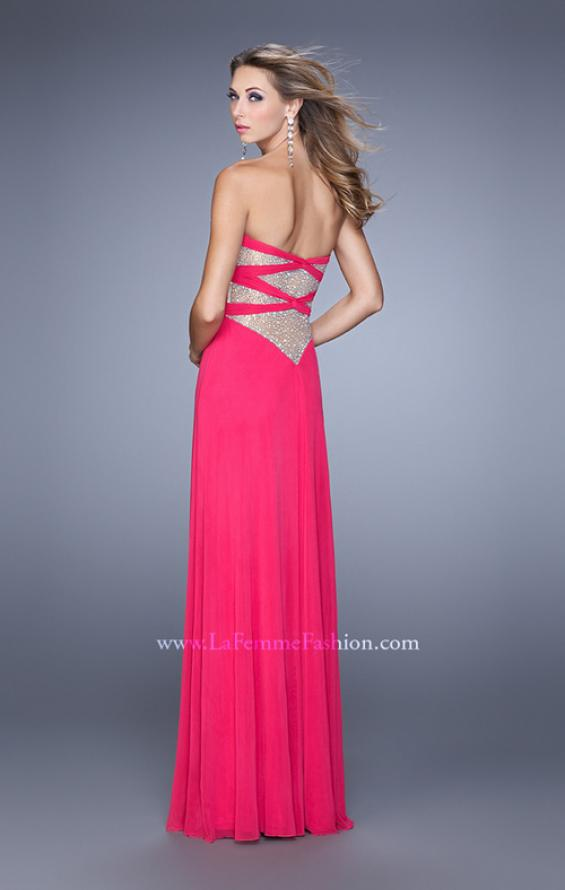 Picture of: Long Jersey Prom Dress with Beaded Net Detailing in Pink, Style: 21232, Detail Picture 2