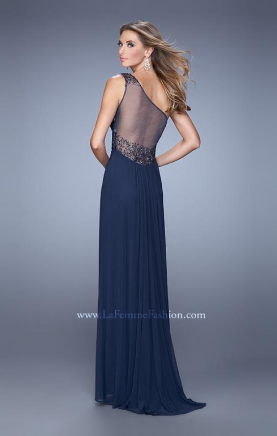 Picture of: One Shoulder Prom Dress with Net Overlay and Beads in Navy, Style: 21239, Back Picture