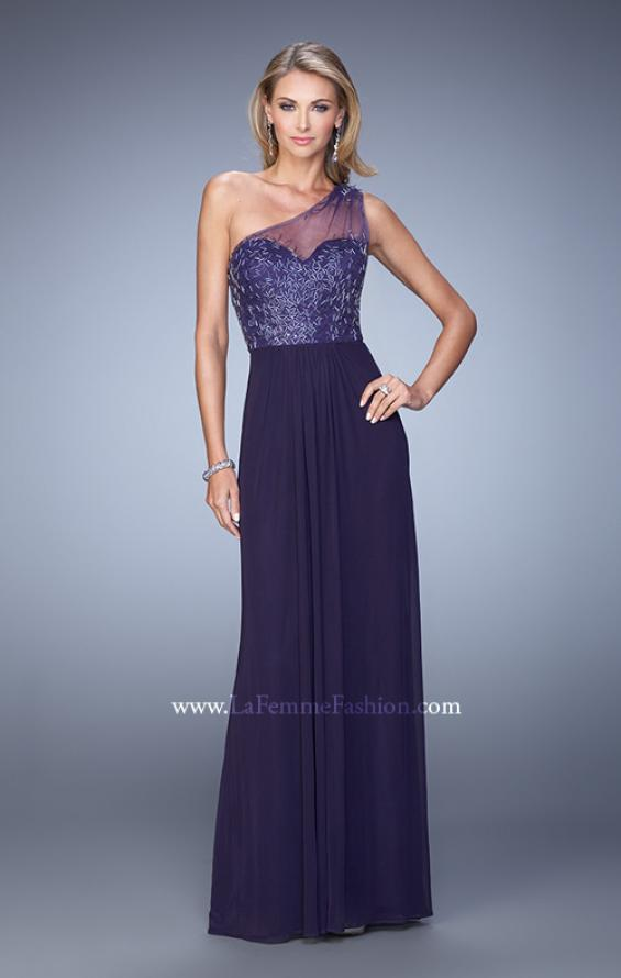 Picture of: One Shoulder Prom Dress with Net Overlay and Beads in Purple, Style: 21239, Detail Picture 1