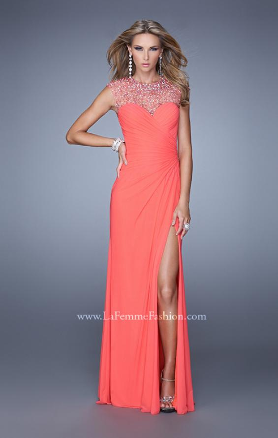Picture of: Cap Sleeve Gathered Bodice Prom Dress with Stones in Coral, Style: 21246, Main Picture