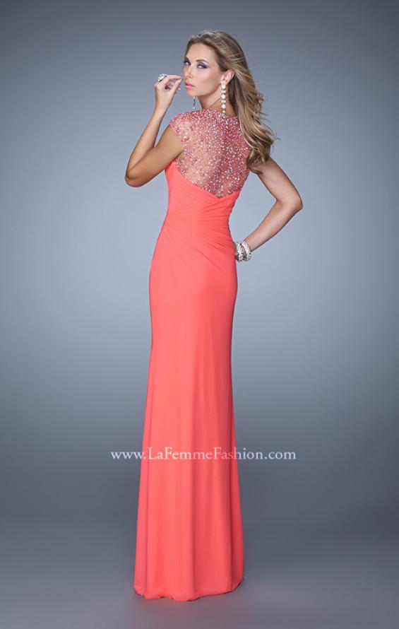 Picture of: Cap Sleeve Gathered Bodice Prom Dress with Stones in Coral, Style: 21246, Back Picture