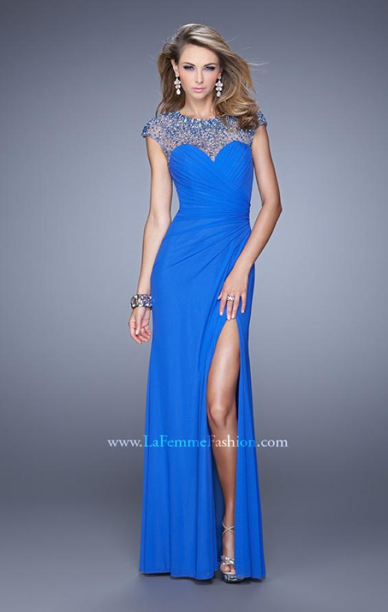 Picture of: Cap Sleeve Gathered Bodice Prom Dress with Stones in Blue, Style: 21246, Detail Picture 1