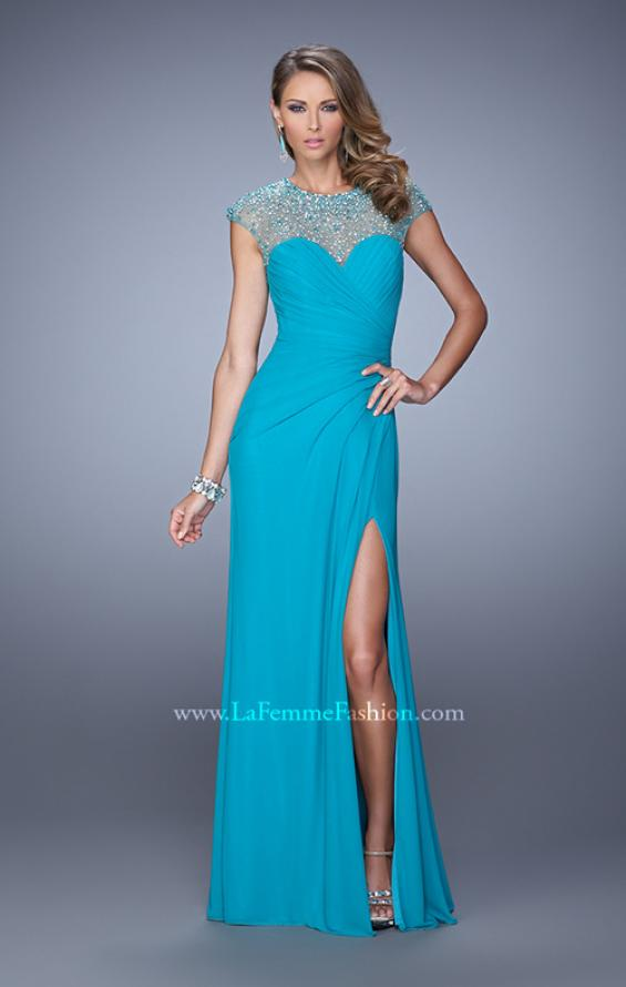 Picture of: Cap Sleeve Gathered Bodice Prom Dress with Stones in Peacock, Style: 21246, Detail Picture 2