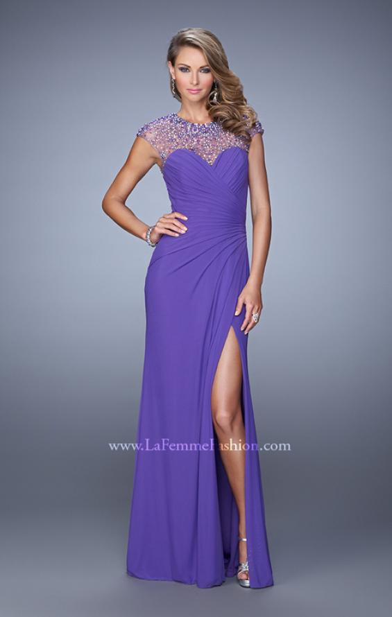 Picture of: Cap Sleeve Gathered Bodice Prom Dress with Stones in Purple, Style: 21246, Detail Picture 3
