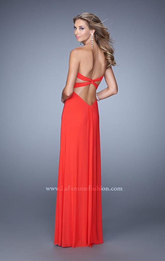 Picture of: Long Jersey Prom Dress with Gathered Knot Detail in Orange, Style: 21254, Back Picture