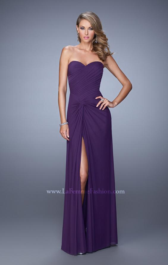 Picture of: Long Jersey Prom Dress with Gathered Knot Detail in Purple, Style: 21254, Detail Picture 1