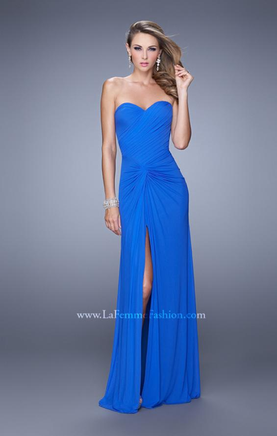 Picture of: Long Jersey Prom Dress with Gathered Knot Detail in Blue, Style: 21254, Detail Picture 2