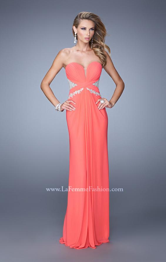 Picture of: Strapless Prom Dress with Beaded Embroidery Cut Outs in Coral, Style: 21256, Main Picture