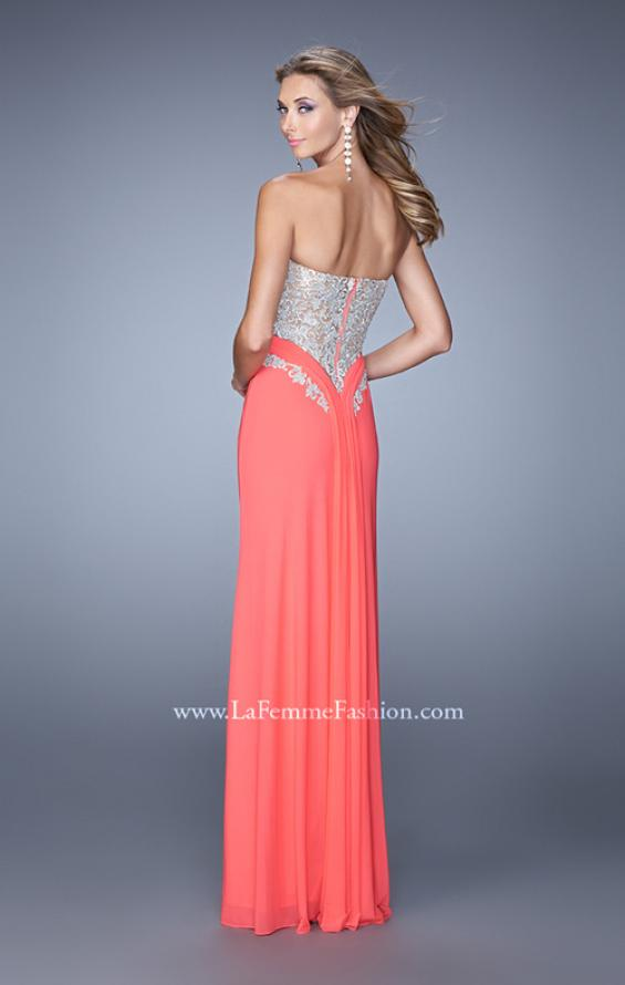 Picture of: Strapless Prom Dress with Beaded Embroidery Cut Outs in Coral, Style: 21256, Back Picture