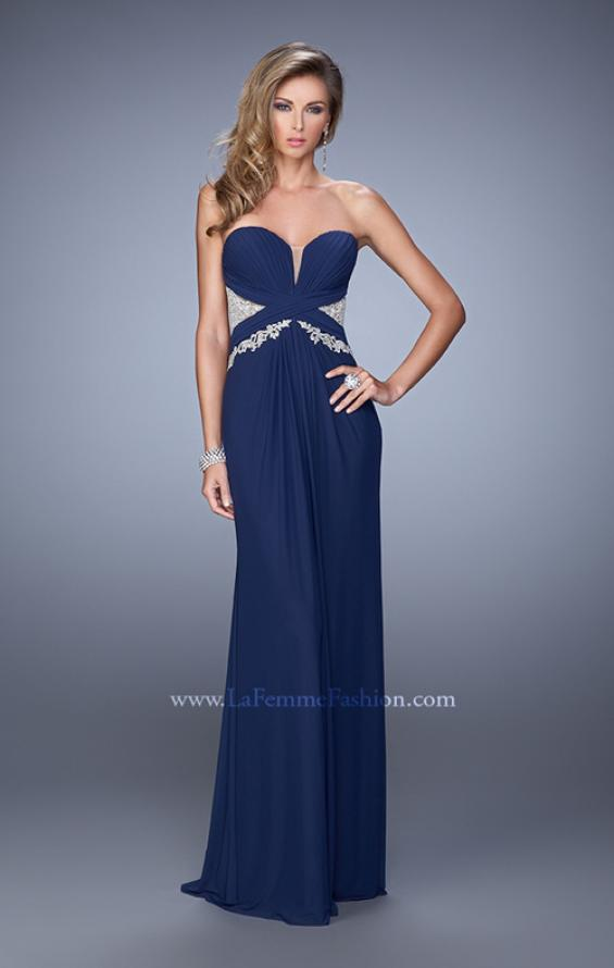 Picture of: Strapless Prom Dress with Beaded Embroidery Cut Outs in Navy, Style: 21256, Detail Picture 1