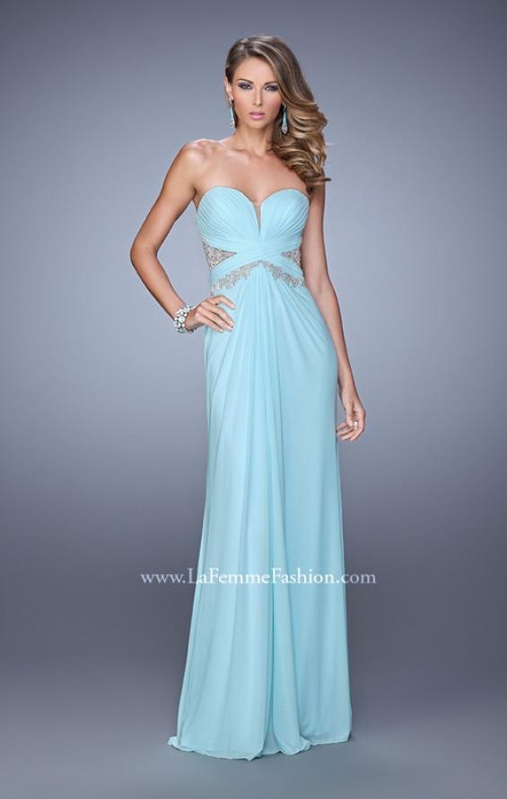 Picture of: Strapless Prom Dress with Beaded Embroidery Cut Outs in Mint, Style: 21256, Detail Picture 2