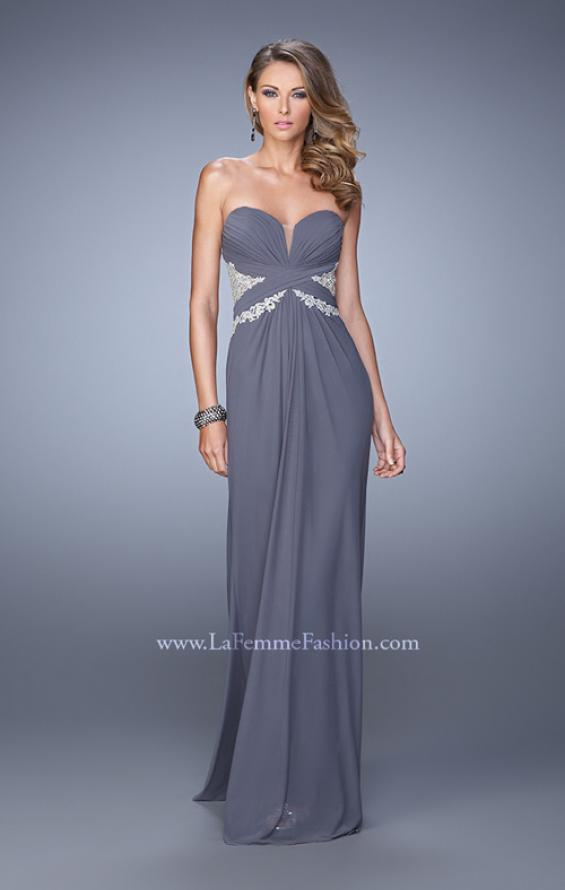 Picture of: Strapless Prom Dress with Beaded Embroidery Cut Outs in Gray, Style: 21256, Detail Picture 3
