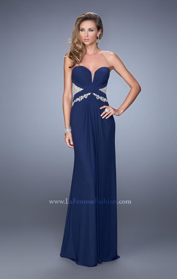 Picture of: Strapless Prom Dress with Beaded Embroidery Cut Outs in Navy, Style: 21256, Detail Picture 4