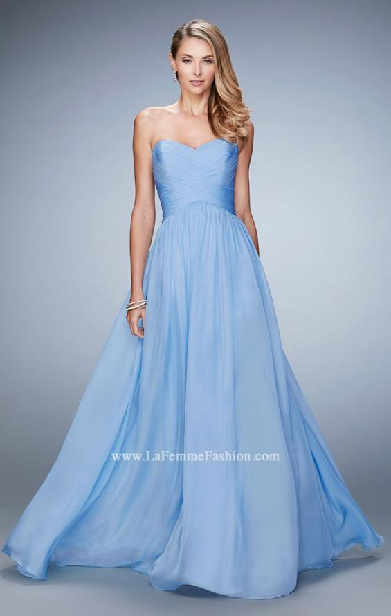 Picture of: High Waist Strapless Prom Dress with Basket Weave Design in Blue, Style: 21257, Main Picture