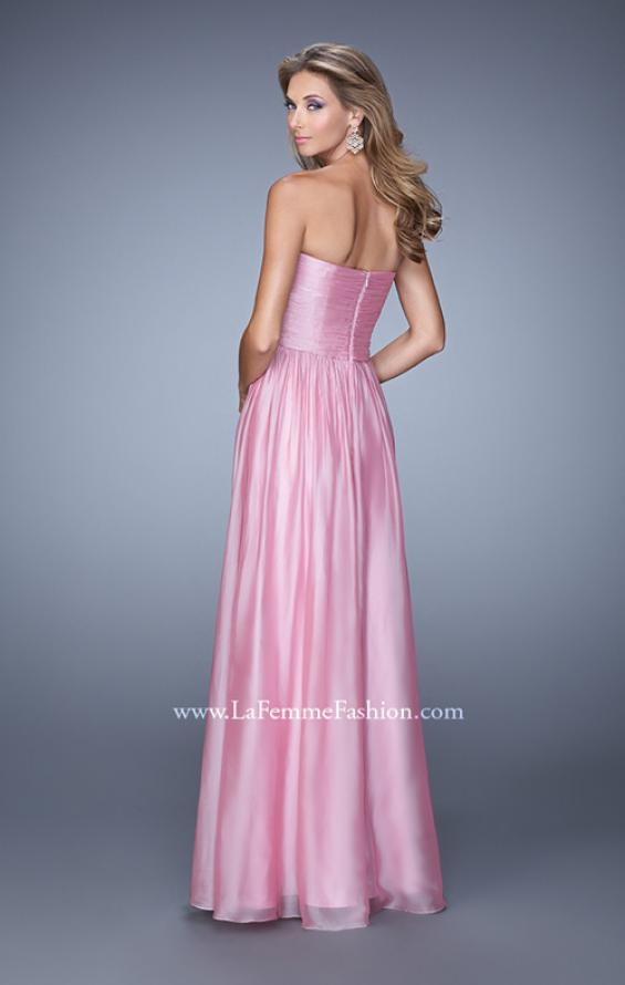 Picture of: High Waist Strapless Prom Dress with Basket Weave Design in Pink, Style: 21257, Back Picture