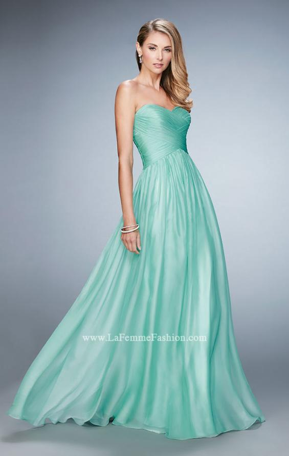 Picture of: High Waist Strapless Prom Dress with Basket Weave Design in Green, Style: 21257, Detail Picture 1