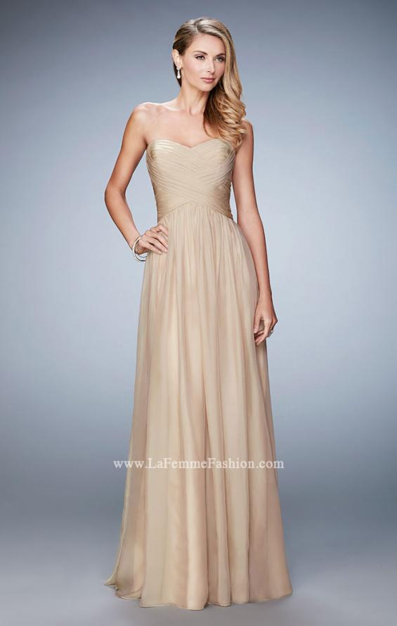 Picture of: High Waist Strapless Prom Dress with Basket Weave Design in Nude, Style: 21257, Detail Picture 2