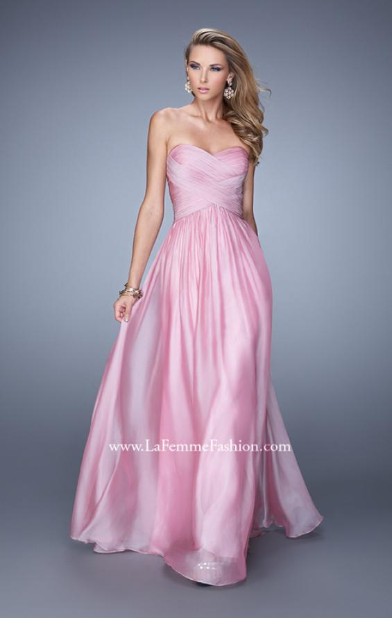 Picture of: High Waist Strapless Prom Dress with Basket Weave Design in Pink, Style: 21257, Detail Picture 3