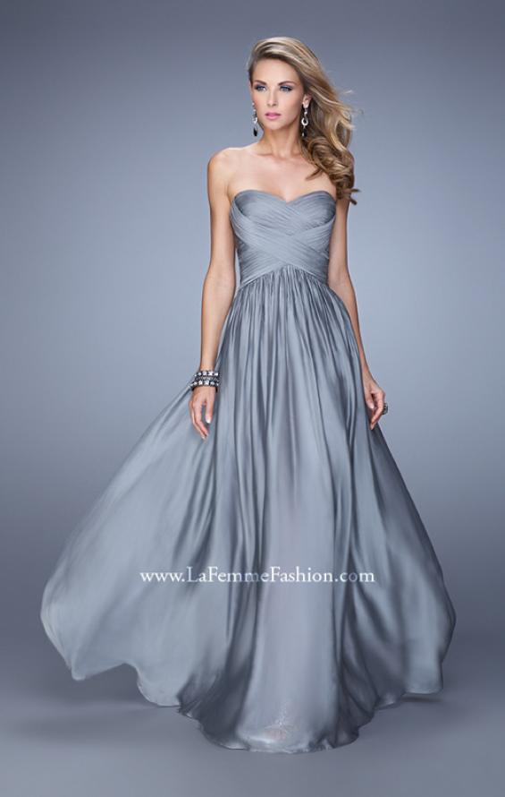 Picture of: High Waist Strapless Prom Dress with Basket Weave Design in Gray, Style: 21257, Detail Picture 4