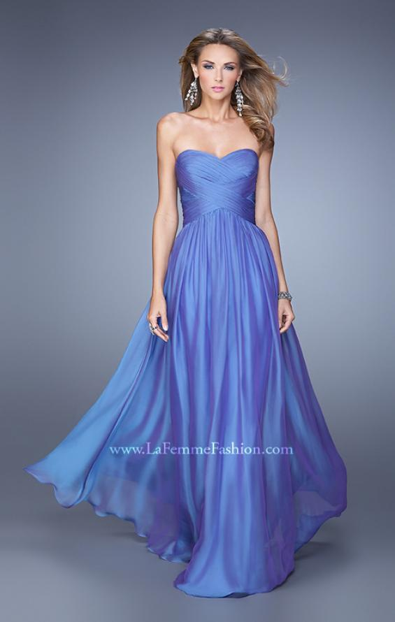 Picture of: High Waist Strapless Prom Dress with Basket Weave Design in Purple, Style: 21257, Detail Picture 5