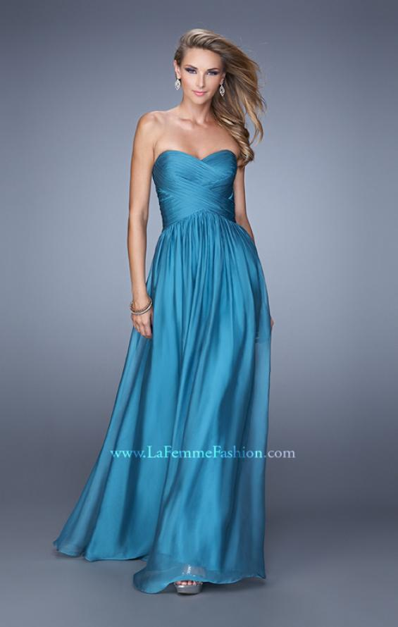 Picture of: High Waist Strapless Prom Dress with Basket Weave Design in Teal, Style: 21257, Detail Picture 6