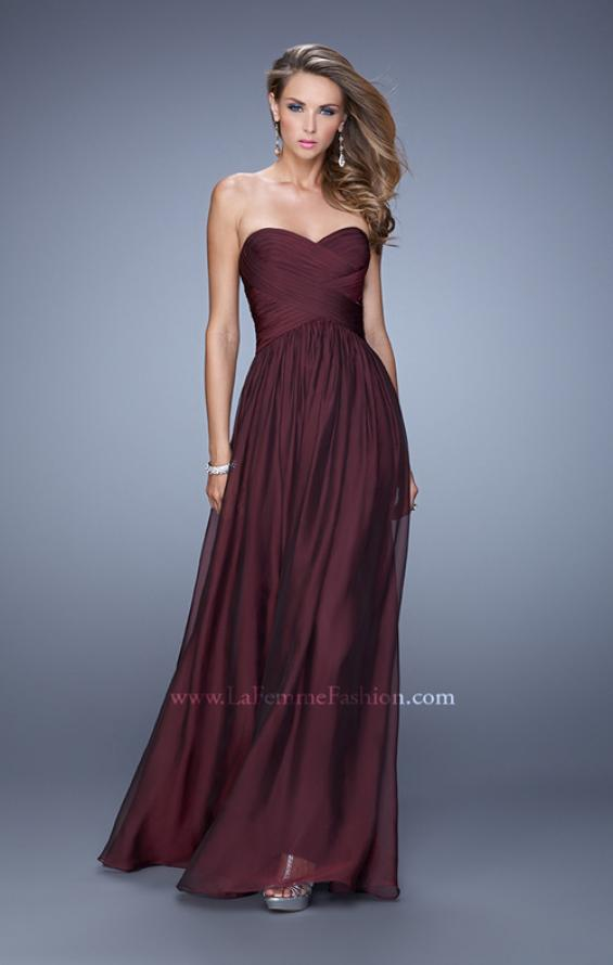 Picture of: High Waist Strapless Prom Dress with Basket Weave Design in Burgundy, Style: 21257, Detail Picture 7