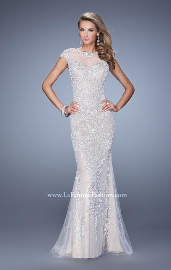 Picture of: Cap Sleeve Long Prom Dress with Embroidery and Beads in White, Style: 21259, Detail Picture 1