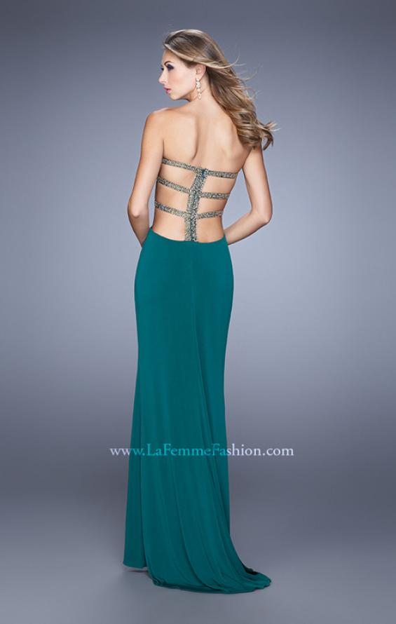 Picture of: Bold Jersey Prom Dress with Sweetheart Neckline in Green, Style: 21265, Detail Picture 1