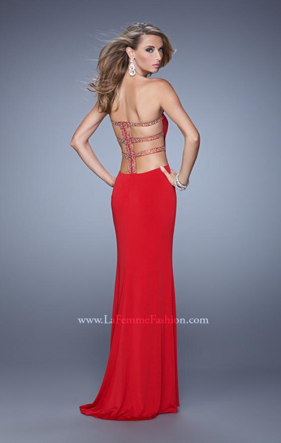 Picture of: Bold Jersey Prom Dress with Sweetheart Neckline in Red, Style: 21265, Detail Picture 2