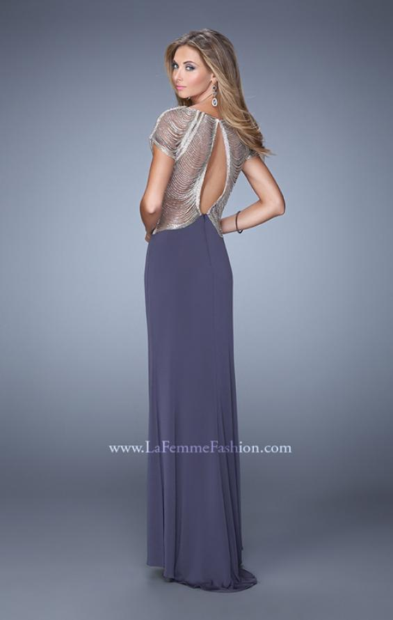 Picture of: Sheer Cap Sleeve Prom Dress with Multi Tonal Beading in Gray, Style: 21268, Back Picture