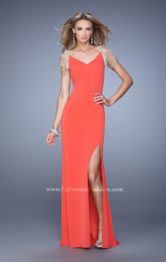 Picture of: Sheer Cap Sleeve Prom Dress with Multi Tonal Beading in Orange, Style: 21268, Detail Picture 1