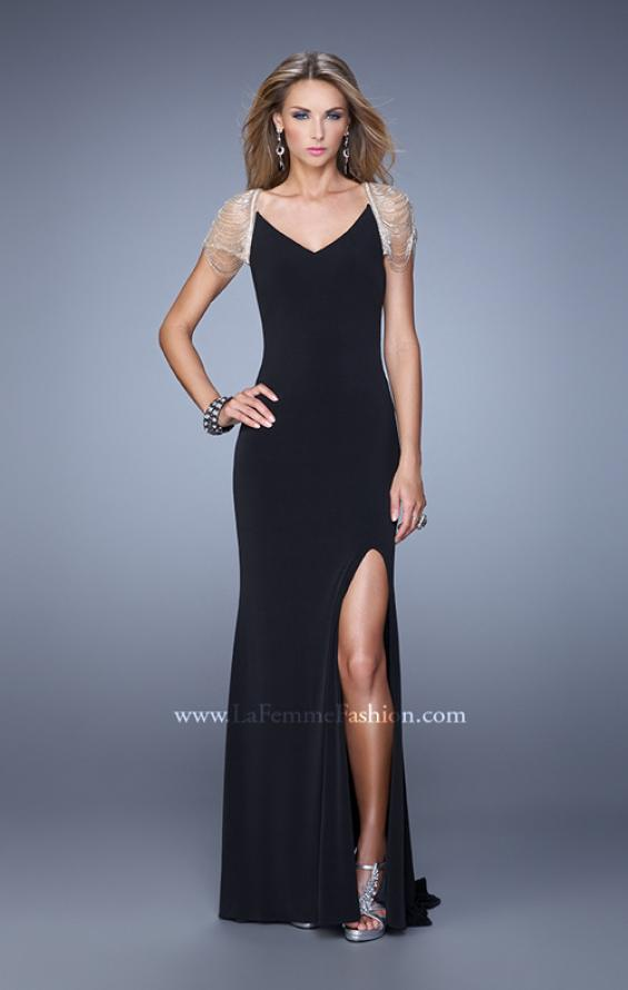 Picture of: Sheer Cap Sleeve Prom Dress with Multi Tonal Beading in Black, Style: 21268, Detail Picture 2
