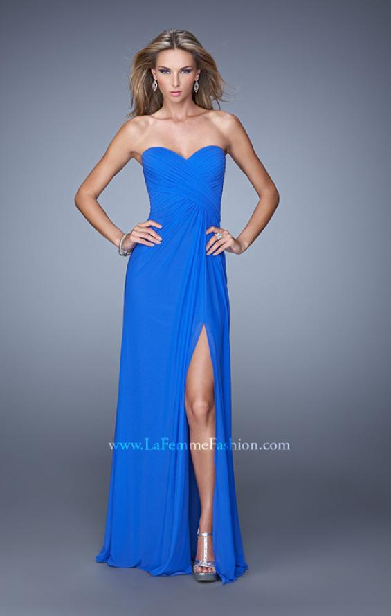 Picture of: Gathered Bodice Prom Gown with Sheer Net Embellishment, Style: 21270, Back Picture