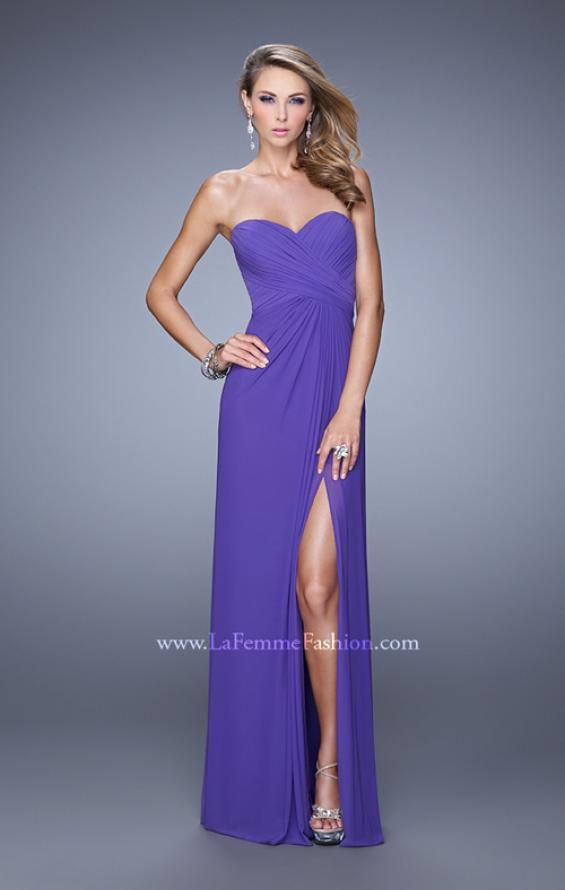 Picture of: Gathered Bodice Prom Gown with Sheer Net Embellishment, Style: 21270, Detail Picture 1