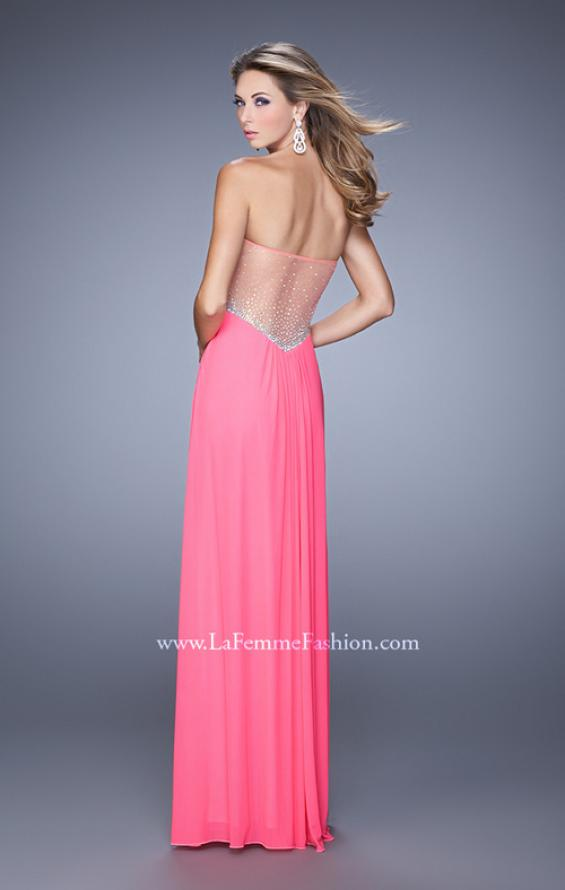 Picture of: Gathered Bodice Prom Gown with Sheer Net Embellishment, Style: 21270, Detail Picture 3
