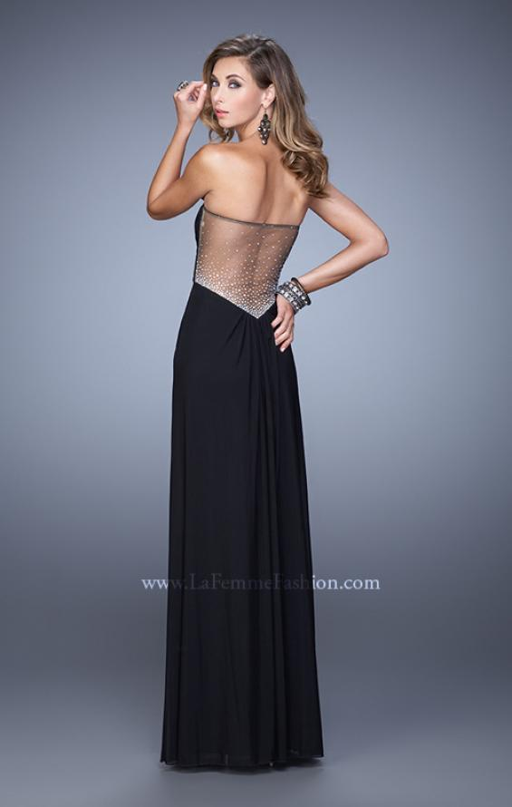 Picture of: Gathered Bodice Prom Gown with Sheer Net Embellishment, Style: 21270, Detail Picture 4