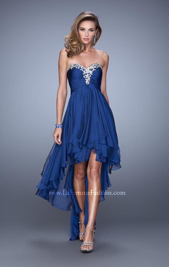 Picture of: High Low Prom Dress with Ruching and Criss Cross Straps, Style: 21274, Detail Picture 1